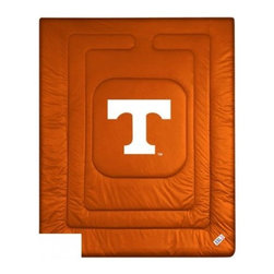 Sports Coverage - Tennessee Volunteers Bedding - NCAA Comforter - Full - Show your team spirit with this great looking officially licensed University of Tennessee Volunteers comforter. This Volunteers comforter is made from 100% Polyester Jersey Mesh - just like what the players wear. The fill is 100% Polyester batting for warmth and comfort. Featuring authentic Tennessee Volunteers team colors, each comforter has the authentic University of Tennessee Volunteers logo screen printed in the center. Soft but durable. Machine washable in cold water. Tumble dry in low heat. Covers are 100% Polyester Jersey top side and Poly/Cotton bottom side. Each comforter has the team logo centered on solid background in team colors. 5.5 oz. Bonded polyester batts. Looks and feels like a real jersey!
