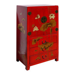 Golden Lotus - Chinese Red Leather Surface Lotus Motif Storage Side Cabinet Dresser - Look at this Chinese lotus hand paint side cabinet which is made of elm wood and the outside of cabinet is wrapped artificial leather, and the inside of cabinet has Chinese calligraphy on it.  The cabinet provides three drawers and one shelf which can be used as a dresser.