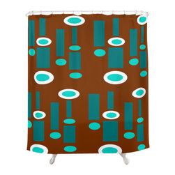 Crash Pad Designs - Crash Pad Designs Funky Shower Curtain - Sheldon - Calming colors are combined in a vibrant design in this retro-inspired shower curtain. This playful, mod pattern is printed on 100 percent polyester, and features 12-stitched button holes for hanging. Your bathroom will look both peaceful and fresh when you hang this curtain in your shower.