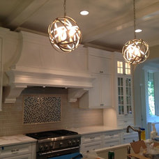 Lights and tile backsplash