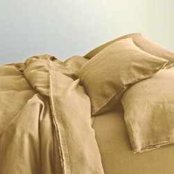 Eileen Fisher - Eileen Fisher Washed Linen Sheets - California King - Fitted - Caramel - This airy, soft pure linen bedding by Eileen Fisher feels wonderful year-round and only gets better over time. Picot detailing and raw-edge double fringe on pillowcases and flat sheet. Eileen Fisher Home exclusively by Garnet Hill.