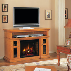 """ClassicFlame - Pasadena Electric Fireplace Entertainment Center in Premium Oak - 28MM468-O107 - Even classic and traditional room designs can benefit from advanced technology. The Pasadena Electric Fireplace Entertainment Center in Premium Oak certainly proves this idea to be true. This spacious entertainment center, with its sturdy construction, has a very classic style, but the two large media cabinets flank a 28"""" electronic fireplace. Powered by energy-saving LED technology, SpectraFire display features a roaring fire that is made lifelike by glowing logs over a highly realistic bed of embers."""