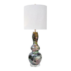 Couture Lamps - Couture Lamps Huntington Table Lamp Multicolor - CTTL21206 - Shop for Lamps from Hayneedle.com! A bright idea for an adventurous home. We have taken a classic gourd shape (handcrafted out of bamboo) and splatter painted it in a melange of trend-right colors (emerald black white red) creating a stunning marble eff ect. Finished with a smooth high gloss clear lacquer adding depth to the vibrant colors below on a simple clear acrylic base. Topped with a mid-century inspired cylinder hardback shade in white linen sized to give this lamp a look at me presence in any room. Shining with style. **Due to the handcrafted nature of this lamp each mix of colors and patterns will vary from lamp to lamp. This only enhances the beauty of each piece.***