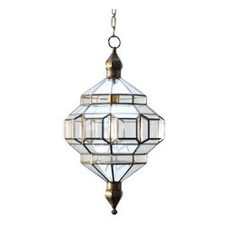 "l'aviva home - Granada Lantern, Alhambra Pendant Light, Brass, 22""x14"" - These glass lanterns are made in a generations-old workshop in granada, Spain. Each piece is hand forged, and reflects the influence of moorish design that can be observed throughout the region."