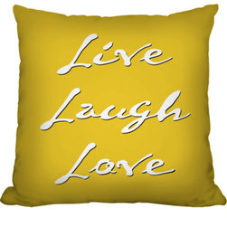 Live Laugh Love Throw Pillow - A classic line that makes a statement. Available in many colors to fit perfectly in your space.