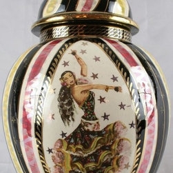Bequet - Consigned Vintage Painted Vase Ginger Jar Flamenco - Product Details
