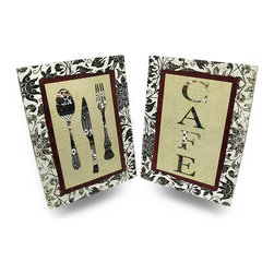 Zeckos - Set of 2 Patchwork Silverware and Cafe Canvas Art Decorative Wall Prints - Make a statement in your kitchen or dining room with set of 2 paired panels Screen-printed canvas is stretched over a wood frame, then highlighted with a black and white floral print frame, and an inner contrasting red frame surrounding the patchwork look silverware of one print, and 'CAFE' on the other, and both on a beige background. With attached hangers on the back, this set of prints easily hangs on the wall of your kitchen, dining room, bar or restaurant, and measures 18 inches long, 24 inches high and 1.5 inches deep (46 x 61 x 4 cm). This set of complementing prints makes a delightful gift and beautifully distinct accent pieces.