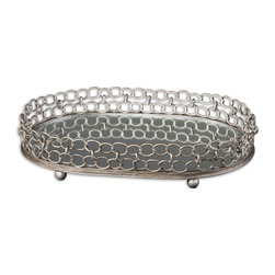 Uttermost - Uttermost Lieven Mirrored Decorative Tray 19670 - Mirrored tray with heavily antiqued, silver champagne metal details.
