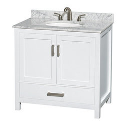 Wyndham Collection - Sheffield Bathroom Vanity in White, White Carrera Top, UM Oval Sink, No Mirror - Distinctive styling and elegant lines come together to form a complete range of modern classics in the Sheffield Bathroom Vanity collection. Inspired by well established American standards and crafted without compromise, these vanities are designed to complement any decor, from traditional to minimalist modern.