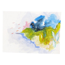 Abstract Painting on Paper, Small Set, ORIGINAL fine art 5x7 by Gina Perillo - Small abstract painting on paper - minimalist, bright, vivid fine art by Gina Perillo