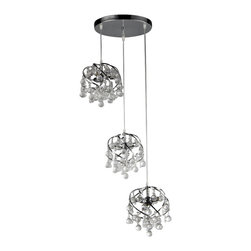 Warehouse of Tiffany - Links Crystal Chandelier - Add some elegance to your home with the Links crystal chandelier. This dynamic lighting element features generous rows of cascading crystals to catch the light. Setting: IndoorsFixture finish: ChromeMaterials: CrystalNumber of lights: Three (3)Requires three (3) 60-watt bulbs (not included)Dimensions: 16 inches high x 16 inches wide x 6 inches deepThis fixture does need to be hard wired. Professional installation is recommended.CSA Listed, ETL Listed, UL Listed