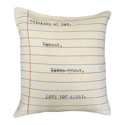 Kathy Kuo Home - Thinking Of You' Vintage Typewriter Linen Down Throw Pillow - Strike the thought of boring pillows lining your sofa or bed. This love note pillow makes your sentiment clear in a bold and graphic way, hand-printed on 100 percent linen. It's a look that you're sure to love madly.
