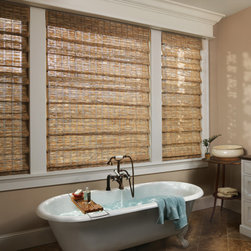 Roman Shades - Hunter Douglas Provenance Woven Woods in the bathroom.