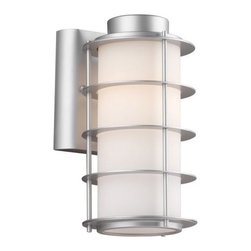 Philips Forecast Lighting - Hollywood Hills Outdoor Wall Sconce by Philips Forecast Lighting - The Forecast Lighting Hollywood Hills Outdoor Wall Sconce, part of the Hollywood Hills Ensemble, pairs etched glass with sleek metal for a fabulous 1930s design. The Hollywood Hills Outdoor Wall Sconce features a White Opal glass shade and is available in Vista Silver or Deep Bronze. Dedicated to seeking customer feedback, Forecast Lighting has generated distinctive lighting designs that clearly stand out in a crowded marketplace. Founded in Southern California in the early 1970s as Forecast Lightolier, this unique lighting company has an in-house design team that travels the world to identify materials and trends that will ultimately result in extraordinary lighting for the home and office.The Forecast Lighting Hollywood Hills Outdoor Wall Sconce is available with the following:Details: