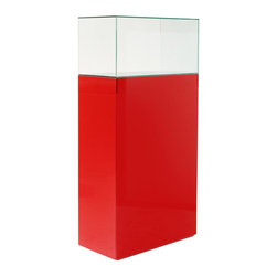 Diamond Sofa - Glass Display Tower in Matt Red - Dual-sided hidden shelf storage area. Made from MDF. Assembly requiredGreat accent piece for any room in the home. Great for adding vertical display to a room's decor.. 31 in. W x 16 in. D x 64 in. H (230 lbs.)With its elegant and tasteful design, the Glass Display Tower by Diamond Sofa is the perfect accent to add to any home's décor. With its Matte Red Lacquer pedestal base and clear glass tower, the visual opportunities are endless to dress up a space. Purchase one to spruce up a bar corner or a pair to accent a dramatic entrance; either way they are sure to add a dramatic and visual flair to any room. Promotes clutter free living with its dual hidden shelf storage area in the pedestal. Unit can also be used as a museum piece to display a statue or vase by simply turning the glass upside down to encase the piece.