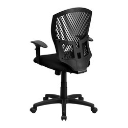 Flash Furniture - Flash Furniture Office Chairs Plastic Back Office Chairs X-GG-A-KB-GYS8593-LW - This contemporary Designer Back Office Chair features a perforated plastic back and will keep you cool and comfortable throughout the day. This chair features a back tilt lock and pneumatic seat lift. [WL-3958SYG-BK-A-GG]