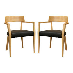 Baxton Studio - Baxton Studio Laine Light Wood Modern Dining Chair with Black Seat (Set of 2) - The simple design and sleek curved back of these understated dining chairs pair well with the table of your choice for a clean and somewhat rustic look. Constructed with a wood frame featuring a light honey wood stain and a foam-padded black faux leather seat, the chairs are both sturdy and comfortable. This chair is fully assembled.