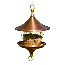 H Potter - Daffodil Bird Feeder - This feeder is like the difference between grub and brunch. Invite your fine-feathered friends to an elegant meal surrounded by copper, brass and glass in a flared, floral shape that sets the table for style. Bon appétit, birdies.