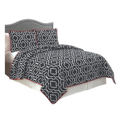 Pem America - Ogee Full / Queen Quilt with 2 Shams - Classic black background with a white iron work print.  The back reverses to a contacting red color to bring a little pop into your room.  This pattern is machine stitched and filled with 80% cotton / 20% polyester fill for a nice weight and durability. Quilt set includes 1 full / queen quilt, 88x88 inches and 2 standard pillow shams, 20 x 26 inches. 100% microfiber polyester face and back with 80% cotton / 20% polyester filling. Machine washable.