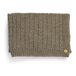 """Cable Knit Alpaca Throw - This alpaca woven throw is 60"""" x 80"""". The piece is adorned with our signature gold St. Frank plate. Each blanket is packaged in an embossed gift box. Dry clean only."""