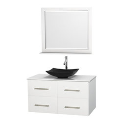 """Wyndham Collection - Centra 42"""" White Single Vanity, White Man-Made Stone Top, Black Granite Sink - Simplicity and elegance combine in the perfect lines of the Centra vanity by the Wyndham Collection. If cutting-edge contemporary design is your style then the Centra vanity is for you - modern, chic and built to last a lifetime. Available with green glass, pure white man-made stone, ivory marble or white carrera marble counters, with stunning vessel or undermount sink(s) and matching mirror(s). Featuring soft close door hinges, drawer glides, and meticulously finished with brushed chrome hardware. The attention to detail on this beautiful vanity is second to none."""