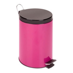 12L Step Trash Can, Magenta - Honey-Can-Do TRS-02106 Colorful Steel Step Trash Can, Magenta.  A contemporary and cheerful addition to any room, this 12L trash can is the perfect size for a kitchen, dorm room, or home office. The sturdy construction and robust design stand up to daily use. A steel foot pedal provides hands-free operation to keep germs at bay. A plastic inner trash bucket is fully removable for easy emptying and cleaning. The bright pink, hand print resistant exterior is easy to clean and features a metal fold down carrying handle.