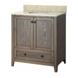 Foremost - Foremost Brentwood 31 Inch Vanity with Engineered Stone Top Driftwood - Foremost Brentwood 31 Inch Vanity with Engineered Stone Top Driftwood
