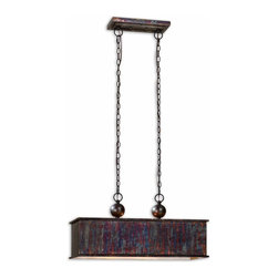 Uttermost - Uttermost Albiano Island/Billiard Fixture in Oxidized Bronze - Shown in picture: Oxidized Bronze Finish With A Antiqued Silver Inside. Complex tonalities of metallic oxidation enrich these classic - simple shapes.