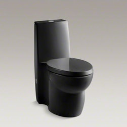 KOHLER - KOHLER Saile(R) one-piece elongated dual-flush toilet with top actuator and Sail - Making a strong, contemporary statement, the slim tank of this Saile one-piece toilet drops seamlessly into a fully skirted bowl. Two top-mounted buttons offer the choice of .8 or 1.6 gallons per flush. At the lower .8 flush setting, this dual-flush high-