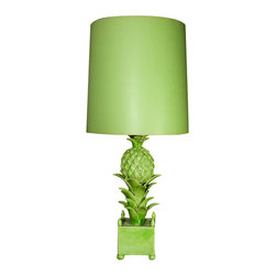 French Green Ceramic Pineapple Lamp - This vintage French green ceramic pineapple lamp was designed by designer Jean Roger.