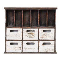 Enchante Accessories Inc - Distressed Wood Cabinet with Cubbies, Brown/White - Beautifully distressed wooden cabinet with 3 drawers. Wooden numbers on each drawer. Excellent for storing office supplies, art supplies & books. Place on your desk for easy access to your gadgets and nicknacks. Wonderful in kids rooms and home offices. This desktop organizer keeps your stuff hidden away in style.