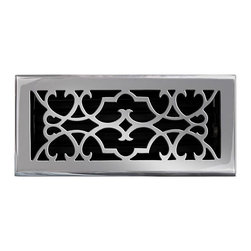 """Brass Elegans 120D PWT Brass Decorative Floor Register Vent Cover - Victorian Sc - This pewter finish solid brass floor register heat vent cover with a victorian scroll design fits 4"""" x 10"""" x 2"""" duct openings and adds the perfect accent to your home decor."""