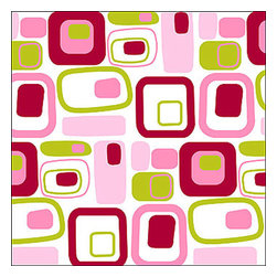 Brewster Home Fashions - Retro Pink Square Self-Stick 5-Piece Wall Accent Stickers - Features: