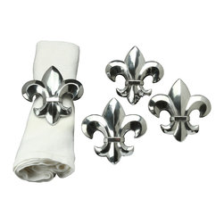 Arthur Court - French Lily Napkin Rings, Set of 4 - Your table will look complete with these elegant napkin rings.