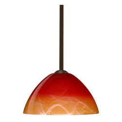 "Besa Lighting - Besa Lighting 1TT-4201SL-LED Tessa 1 Light LED Stem-Hung Pendant - Tessa has a classical bell shape that complements aesthetic, while also built for optimal illumination. Our Solare glass is a pressed glass that features swirls of white throughout clear glass, which then is colored with a translucent mix of red-orange to yellow. This decor is classic and can be used in various ways. When lit this gives off a light that is functional and soothing. The smooth satin finish on the clear outer layer is a result of an extensive etching process. This handcrafted glass uses a process where every glass is consistently produced using a press mold, keeping variations to a minimum. The stem pendant fixture is equipped with an adjustable telescoping section, 4 connectable stem sections (3"", 6"", 12"", and 18"") and low Profile flat monopoint canopy.Features:"