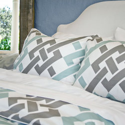 Crane & Canopy - Geometric Print Designer Duvet Cover, The Fillmore Blue - Blue and gray are the perfect complements with this soft geometric printed contemporary duvet.  Finishing details include edge piping, interior corner ties and zipper enclosures.