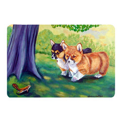 Caroline's Treasures - Corgi Kitchen Or Bath Mat 20X30 - Kitchen or Bath COMFORT FLOOR MAT This mat is 20 inch by 30 inch.  Comfort Mat / Carpet / Rug that is Made and Printed in the USA. A foam cushion is attached to the bottom of the mat for comfort when standing. The mat has been permenantly dyed for moderate traffic. Durable and fade resistant. The back of the mat is rubber backed to keep the mat from slipping on a smooth floor. Use pressure and water from garden hose or power washer to clean the mat.  Vacuuming only with the hard wood floor setting, as to not pull up the knap of the felt.   Avoid soap or cleaner that produces suds when cleaning.  It will be difficult to get the suds out of the mat.
