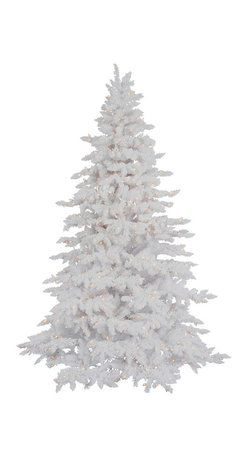 Flocked White Spruce - If you are dreaming of a white Christmas, our Flocked White Spruce artificial Christmas tree will help turn your dreams into a snowy reality. This elegant tree with its fade-resistant sturdy white needles and heavy flocking will create a lovely canvas for all of your holiday ornaments and decorations. Pre-lit with clear lights, our Flocked White Spruce is an all-white beauty that will surely turn heads this Christmas and many Christmases to come.