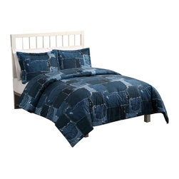 Pem America - Jean Patch Twin Comforter with Sham - If you love that casual feel of your favorite blue jeans, then you will love this pattern.  Made to fit a casual decor room this 100% cotton face comforter is a print of patchwork of denim patches. Twin comforter (68x86 inches) with 1 standard sham (20x26 inches). 100% cotton face cloth.  100% microfiber reverse.  100% Polyester fill. Machine wash.