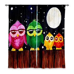"""DiaNoche Designs - Window Curtains Unlined - nJoyArt Owls on a Fence Black - Purchasing window curtains just got easier and better! Create a designer look to any of your living spaces with our decorative and unique """"Unlined Window Curtains."""" Perfect for the living room, dining room or bedroom, these artistic curtains are an easy and inexpensive way to add color and style when decorating your home.  This is a tight woven poly material that filters outside light and creates a privacy barrier.  Each package includes two easy-to-hang, 3 inch diameter pole-pocket curtain panels.  The width listed is the total measurement of the two panels.  Curtain rod sold separately. Easy care, machine wash cold, tumbles dry low, iron low if needed.  Made in USA and Imported."""