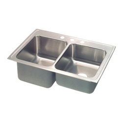 """Elkay - Elkay STLR3322L4  Gourmet Double-Bowl Sink - Elkay's STLR3322L4 is a Gourmet Double-Bowl Sink. This sink is constructed of 18-gauge type 304 nickel-bearing stainless steel, and can be mounted on almost any surface. It features a 7-5/8"""" standard bowl, a 10-1/8"""" deep bowl, and two 3-1/2"""" drain openings. This sink comes with a four-hole faucet mount, and comes with the deep bowl on the left-side."""