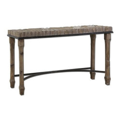 Uttermost - Tehama Console - 24266 - Uttermost 24266 - Weathered, sanded and lightly burnished natural fir wood with aged black metal accents and a light dusty wash. Matching mirror is item #7631.