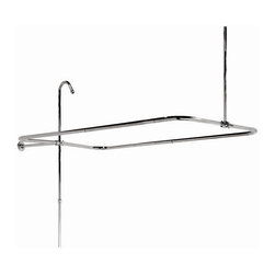 Elizabethan Classics - End Mount 70 in. Shower Enclosure w 2 Pc Rise - Finish: Oil Rubbed BronzeManufacturer SKU: SE2LCP. Pictured in Chrome. End mount Shower Enclosure with 2 piece riser. 36 in. Ceiling Brace and can be cut. For use with wall tapped tubs and rim mount Roll Top and Slipper Tubs. Two piece riser is 5/8 in. OD. 12 in. Wall Brace and can be cut. 1/2 in. IPS showerhead connection. 60 in. L x 31 in. W