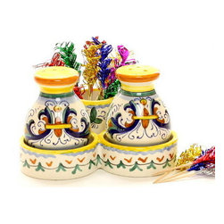 Artistica - Hand Made in Italy - Ricco Deruta: Salt/Pepper Cruet with Party Picks Tumbler Holder - Ricco Deruta: This product is part of the renown Ricco Deruta Collection.