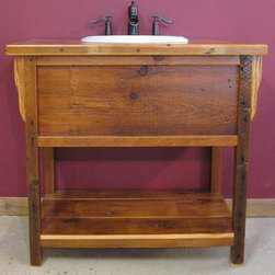 Reclaimed Barn Wood Bathroom - This reclaimed barnwood vanity is made in a vintage wash stand style.  It comes in custom sizes to fit any size space.  Made entirely of reclaimed barn wood by Vienna Woodworks LLC