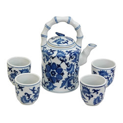 Oriental Unlimited - Blue & White Floral Porcelain Tea Set - Includes large tea pot and 4 classic handless Japanese style tea cups. Fine Oriental porcelain tea set. Cups: 2.5 in. Dia. x 2.75 in. H. Teapot: 6.5 in. W x 4.5 in. D x 8 in. H (3.5 lbs.)