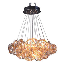 Viz Glass, Inc. - Infinity Chandelier, Champagne - Add instant elegance to your home with the Infinity Chandelier. This unique piece is handblown from Italian Glass and features a tangle of textured champagne-colored glass strands hung from a chrome hardware base. Variations may occur in individual pieces. Maximum height is 65 inches. Includes five 40 watt candelabra bulbs. UL listed. Hardwire; professional installation recommended.