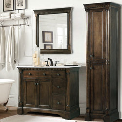 Rustic Bathroom Vanities - This Rustic Bathroom Vanities stunning old world bathroom vanity is constructed using solid wood. It features a solid Carrera White Marble countertop. Plenty of storage is complimented by an optional matching mirror and linen cabinet.