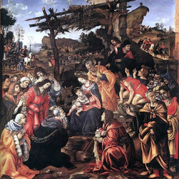 """Filippino Lippi Adoration of the Magi - 16"""" x 16"""" Premium Archival Print - 16"""" x 16"""" Filippino Lippi Adoration of the Magi premium archival print reproduced to meet museum quality standards. Our museum quality archival prints are produced using high-precision print technology for a more accurate reproduction printed on high quality, heavyweight matte presentation paper with fade-resistant, archival inks. Our progressive business model allows us to offer works of art to you at the best wholesale pricing, significantly less than art gallery prices, affordable to all. This line of artwork is produced with extra white border space (if you choose to have it framed, for your framer to work with to frame properly or utilize a larger mat and/or frame).  We present a comprehensive collection of exceptional art reproductions byFilippino Lippi."""