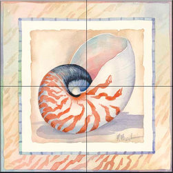 The Tile Mural Store (USA) - Tile Mural - Bordered Shell Nautilus  - Kitchen Backsplash Ideas - This beautiful artwork by Paul Brent has been digitally reproduced for tiles and depicts a nice shell in the bordered series.    Tile murals with shells and decorative shell tiles are timeless and are excellent to add to your kitchen backsplash tile project or your tub and shower surround bathroom tile project. Images of sea shells on tiles add a unique element to your tiling project and are a great kitchen backsplash idea for a coastal home. Use a shell tile mural for a wall tile project in any room in your home where you want to add interest to a plain field of wall tile. Bathrooms always look best with the addition of decorative wall tiles so why not add decorative tiles with images of shells?